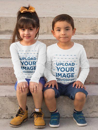 Mockup of Two Siblings Wearing Long Sleeve Tees 31678