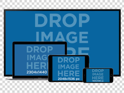 PNG Responsive Mockup of a TV, MacBook Pro, iPad and iPhone in Landscape Position a11927