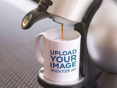 Coffee Mug Mockup Featuring an Espresso Machine a12270