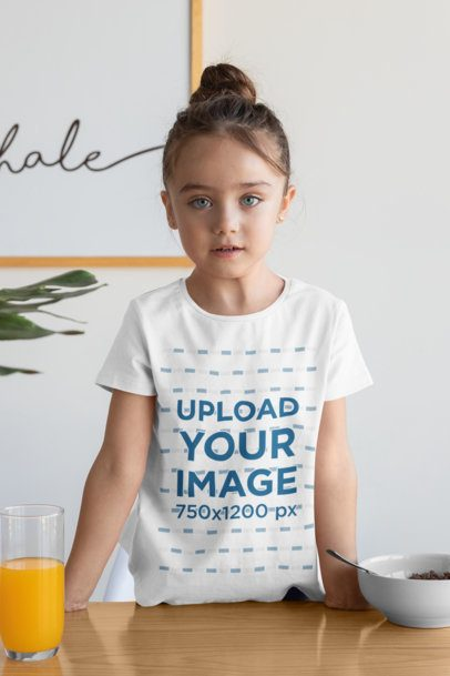 Mockup of a Girl Wearing a T-Shirt at Breakfast 31681