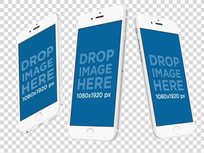 White iPhones Floating in Angled Position Over a Null Background Mockup a12269