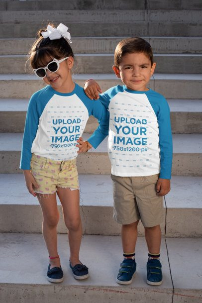 Mockup of Two Little Kids Posing with Raglan T-Shirts 31672
