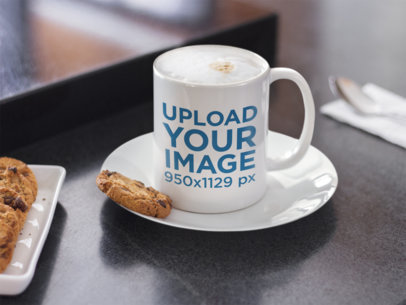 Coffee Mug Mockup with Chocolate Chip Cookies a12271