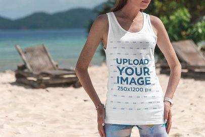 Mockup of a Slim Woman Wearing a Tank Top at the Beach 3315-el1