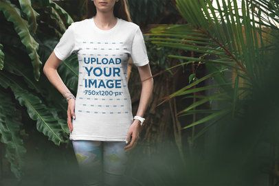 T-Shirt Mockup of a Woman Surrounded by Nature 3343-el1