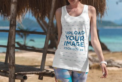 Tank Top Mockup of a Young Woman at the Beach 3317-el1