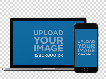 iPhone in Portrait Position and MacBook Pro Over a PNG Background Mockup a12314