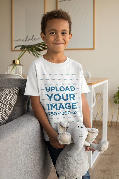 T-Shirt Mockup of a Smiling Kid with a Cuddly Toy 31638