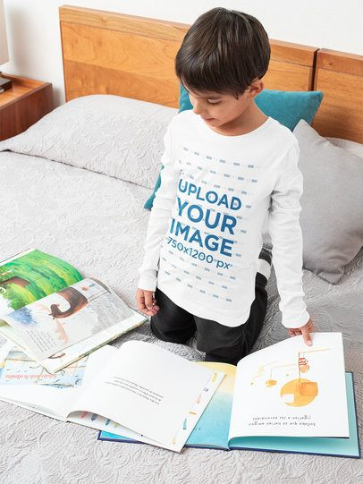 Long-Sleeve Tee Mockup Featuring a Boy Reading in His Bedroom 32171