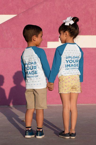 Back-View Mockup of Two Siblings Wearing Raglan T-Shirts 31674