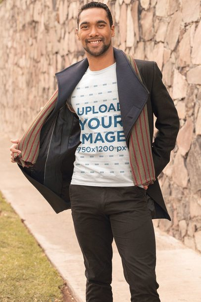 T-Shirt Mockup of a Happy Man Wearing a Cool Fall Outfit 31828