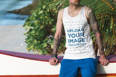 Tank Top Mockup of a Tattooed Man Posing Near the Beach 3309-el1