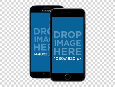 Samsung Galaxy and iPhone 6 Front View Mockup Over a Transparent Background a11911