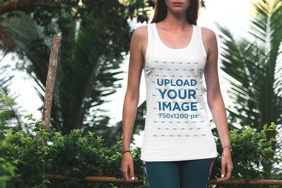 Tank Top Mockup of a Young Woman on Vacation 3349-el1