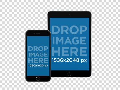 Mockup of an iPhone and iPad mini in Frontal View Portrait Position Over a PNG Background a11897