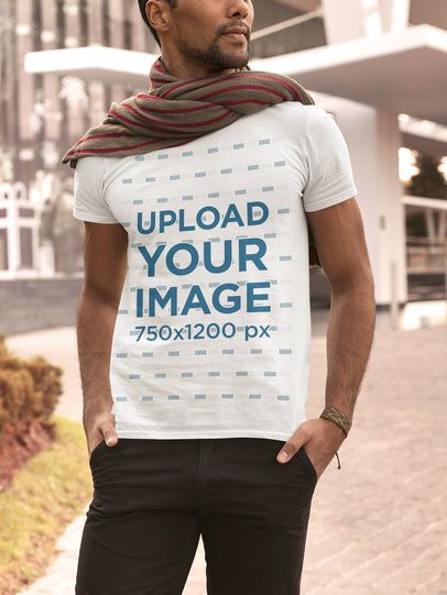 T-Shirt Mockup of a Man in an Autumn Outfit 31831