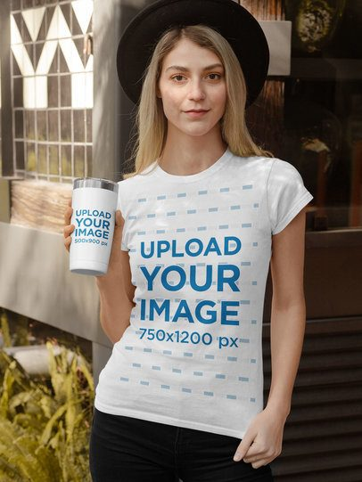 Shirt Mockup Featuring a Woman Holding a Travel Mug Outside a Store 31817