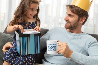 11 oz Coffee Mug Featuring a Girl with Her Dad on Father's Day 33097