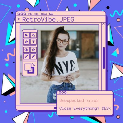 Retro Instagram Post Generator with Lightning Illustrations 2344b