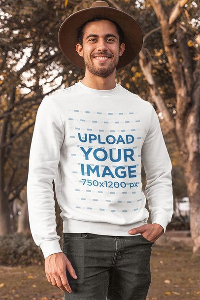 Crewneck Sweatshirt Mockup of a Man Posing at a Park During Autumn 31810
