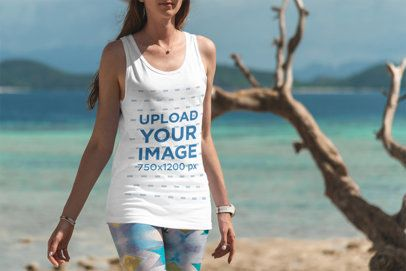 Tank Top Mockup of a Woman Taking a Stroll at the Beach 3340-el1