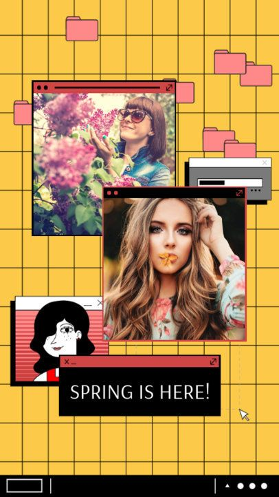 Retro-Themed Instagram Story Creator for a Spring Post 2343n
