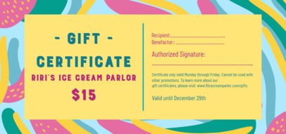 Colorful Gift Certificate Design Maker for an Ice Cream Parlor 2342c