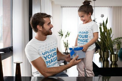 Mockup Featuring a Girl Giving Her Dad a Present on Father's Day 33063