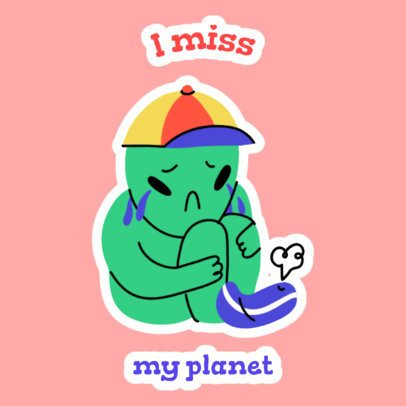 Sticker Design Template with a Nostalgic Alien Kid 2339e