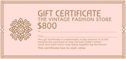 Gift Certificate for a Fashion Store Featuring an Elegant Frame 2340j