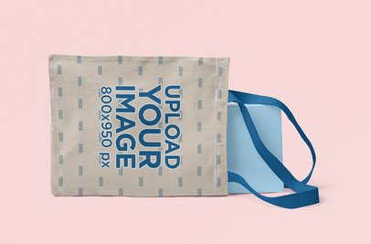 Mockup of an Angled  Sublimated Tote Bag with Customizable Strap 3120-el1