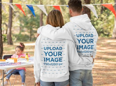 Back View Hoodie Mockup of a Family at a 4th of July Celebration 33034