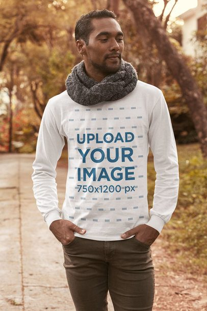 Long-Sleeve Tee Mockup Featuring a Man Walking on the Street 31835