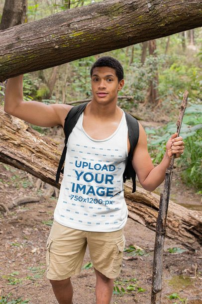 Tank Top Mockup of a Young Man Hiking 32363