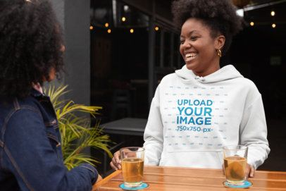 Hoodie Mockup of a Woman Enjoying a Night Out with Her Friend 32297