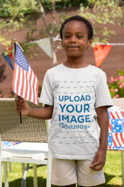T-Shirt Mockup of a Little Kid Celebrating the 4th of July 33011