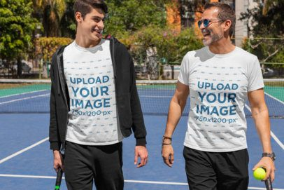 T-Shirt Mockup of a Happy Man and His Son at a Tennis Court 33104