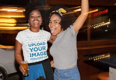 T-Shirt Mockup of a Woman Partying with Her Friend 32309