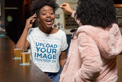 Crop Top Mockup Featuring a Woman Having Fun With a Friend at a Bar 32294
