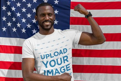 T-Shirt Mockup of a Man Posing with the USA Flag 33017