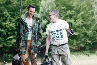 T-Shirt Mockup of Two Men Gone Fishing 3232-el1