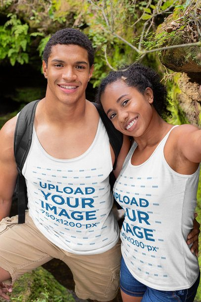 Tank Top Mockup of a Couple Taking a Selfie in the Woods 32367