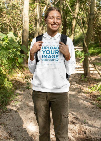Hoodie Mockup of a Happy Hiker in the Woods 32226