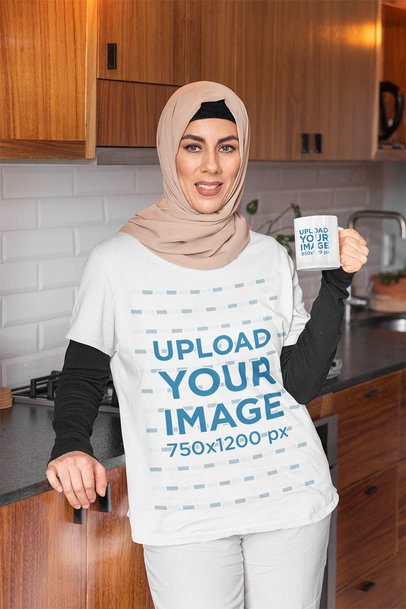 T-Shirt Mockup of a Woman with a Hijab Drinking from an 11 oz Mug 32397