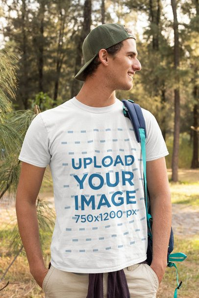 T-Shirt Mockup Featuring a Hiker by the Woods 32240