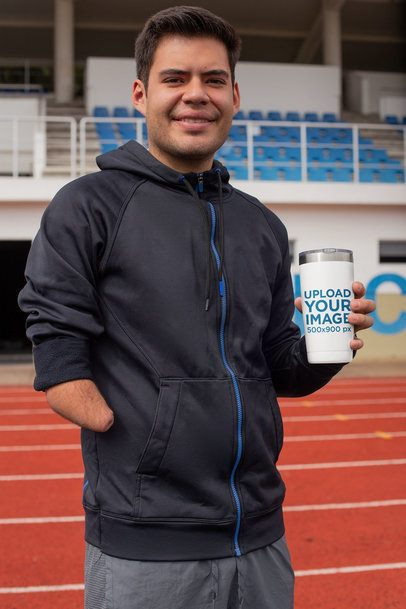 Tumbler Mockup Featuring a Man at a Track Field 32505