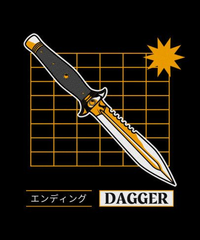 T-Shirt Design Template with a Japanese Dagger Clipart 604a-el1