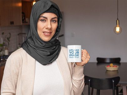 11 oz Mug Mockup of a Woman with a Hijab Having a Coffee at Home 32406
