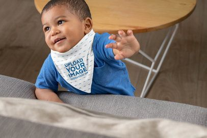Sublimated Bib Mockup Featuring a Joyful Baby at Home 32525