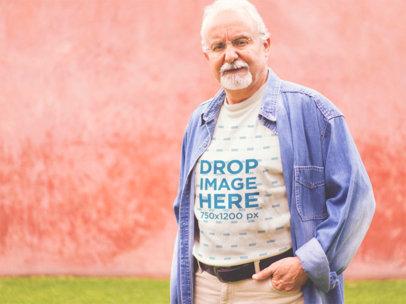 Elder Man Wearing a T-Shirt with a Denim Long Sleeve Mockup a12393